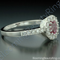 .89 ctw. Diamond and Oval Pink Halo Sapphire Ring - 3