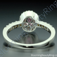 .89 ctw. Diamond and Oval Pink Halo Sapphire Ring - 2