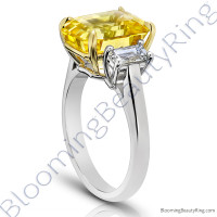 8.99 ctw. Emerald Yellow Sapphire Ring with Emerald Side Diamonds -3