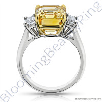 8.99 ctw. Emerald Yellow Sapphire Ring with Emerald Side Diamonds -2