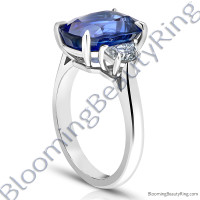 8.20 Carat Half Moon Royal Blue Cushion Sapphire Ring - rcg20838-2