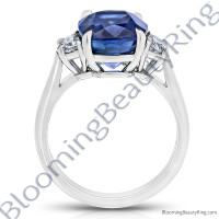 8.20 Carat Half Moon Royal Blue Cushion Sapphire Ring - rcg20838-3