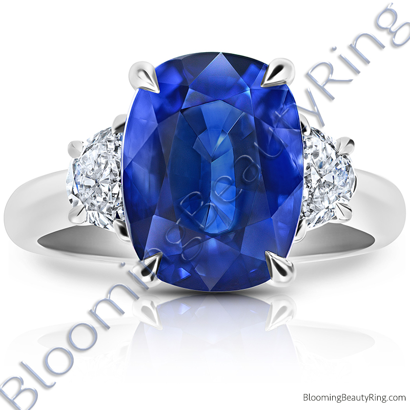 8.20 Carat Half Moon Royal Blue Cushion Sapphire Ring - rcg20838