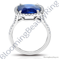 7.94ctw. Halo Split Shank Blue Cushion Sapphire and Diamond Ring - rcc20685-3