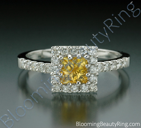 .69 ctw. Invisible Set 4 Yellow Sapphire Diamond Ring - cgrRG190