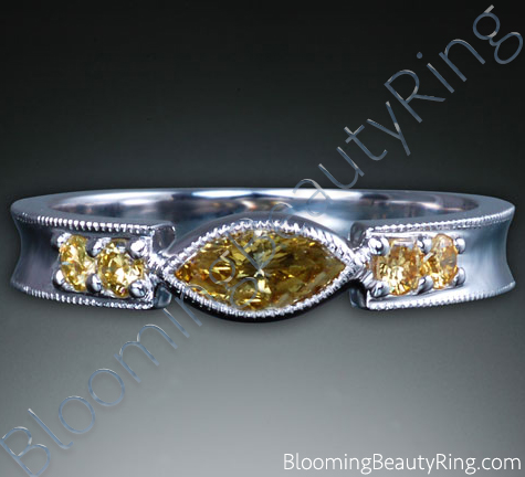 .40 ctw. Marquise Fancy Yellow Diamond Ring - cgrRG7164