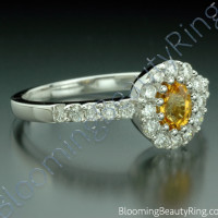 .85 ctw. Multi Prong Oval Yellow Sapphire and Diamond Ring - 2