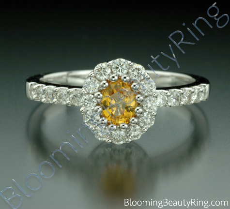 .85 ctw. Multi Prong Oval Yellow Sapphire and Diamond Ring - cgrRG187
