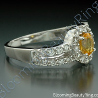 1.26 ctw. Oval Yellow Sapphire and Diamond Wave Ring - 2