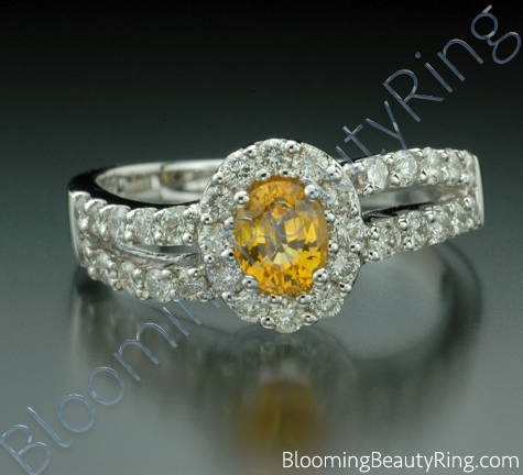 1.26 ctw. Oval Yellow Sapphire and Diamond Wave Ring - cgrRG192