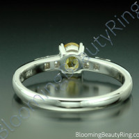 .64 ctw. Oval Yellow Sapphire and Princess Diamond Ring - 3