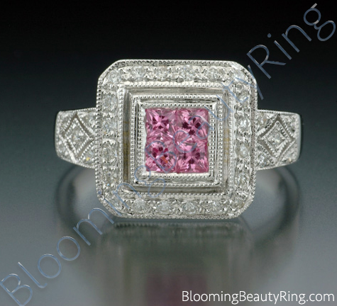 .65 ctw. Invisible Set Pink Sapphire and Diamond Ring - cgrRG194