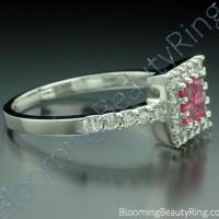 .76 ctw. Invisible Set with 4 Pink Sapphires and Diamond Ring - 3