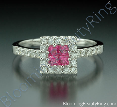 .76 ctw. Invisible Set with 4 Pink Sapphires and Diamond Ring - cgrRG3716