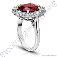 8.97 ctw. Red Oval Spinel Princess Di Halo Ring with Oval Side Diamonds - 3