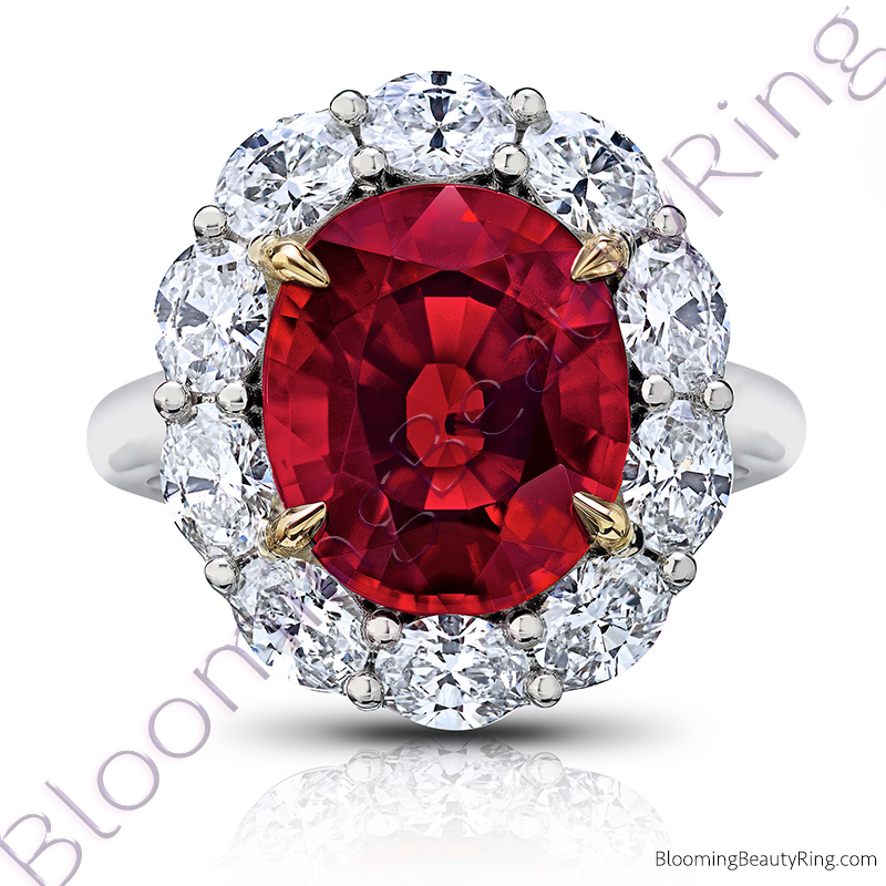 8.97 ctw. Red Oval Spinel Princess Di Halo Ring with Oval Side Diamonds - rcc20909