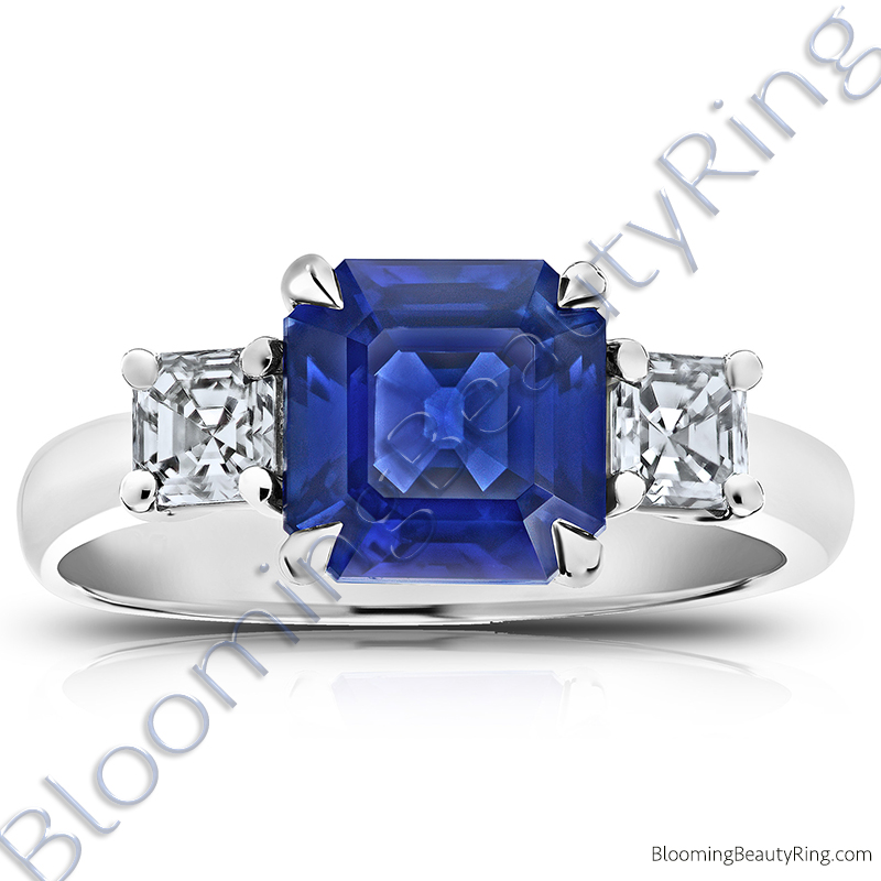 3.51 ctw. Square Emerald Blue Sapphire Ring with Asscher Side Diamonds