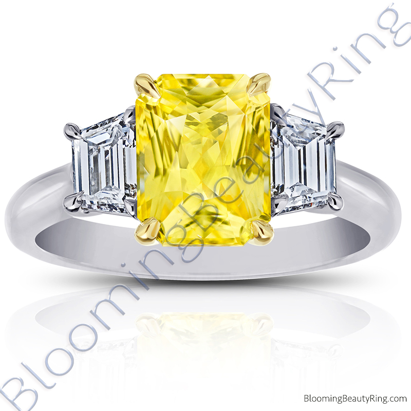 3 Stone 3.96 ctw. Radiant Cut Yellow Sapphire Ring with Trapezoid Side Diamonds - rcc20966