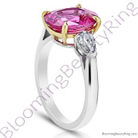 5.68 ctw. 3 Stone 2-Toned Oval Pink Sapphire Ring with Pear Side Diamonds 3
