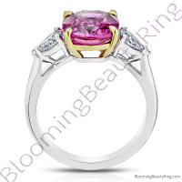 5.68 ctw. 3 Stone 2-Toned Oval Pink Sapphire Ring with Pear Side Diamonds 2