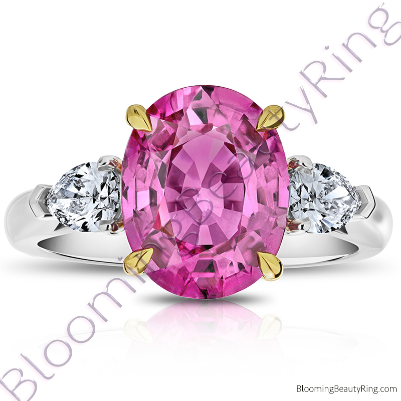 5 68 Ctw 3 Stone 2 Toned Oval Pink Sapphire Ring With