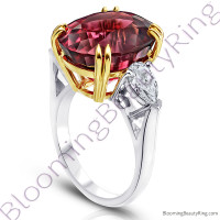 16.16 ctw. Two Toned Double Prong Oval Red Spinel Ring w/ Pear Side Diamonds