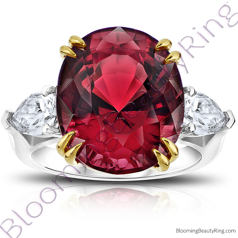 16.16 ctw. Two Toned Double Prong Oval Red Spinel Ring with Pear Side Diamonds - rcc20641