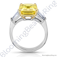 7.94 ctw. Yellow Emerald Cut Sapphire Ring with Brilliant Baguette Side Diamonds