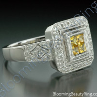 .50 ctw. Princess Yellow Sapphire and Diamond Square Ring - 3