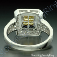 .50 ctw. Princess Yellow Sapphire and Diamond Square Ring - 2
