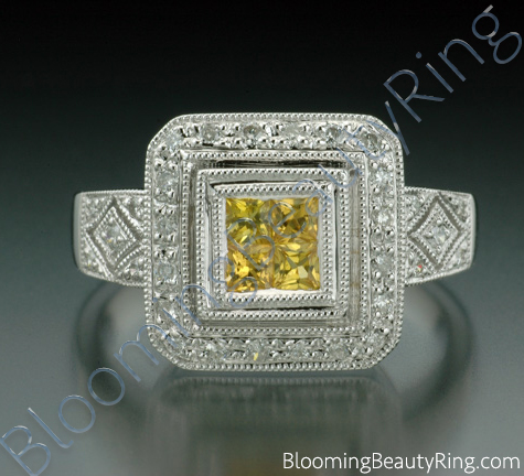 .50 ctw. Princess Yellow Sapphire and Diamond Square Ring - cgrRG1801