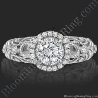 Filigree Diamond Halo Engagement Ring - bbr669