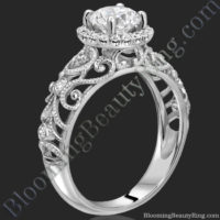 La Bella - Filigree Diamond Halo Engagement Ring