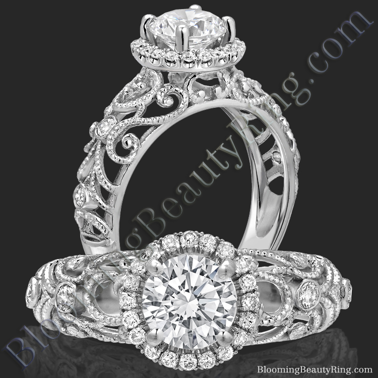 La Bella - Filigree Diamond Halo Engagement Ring - bbr669