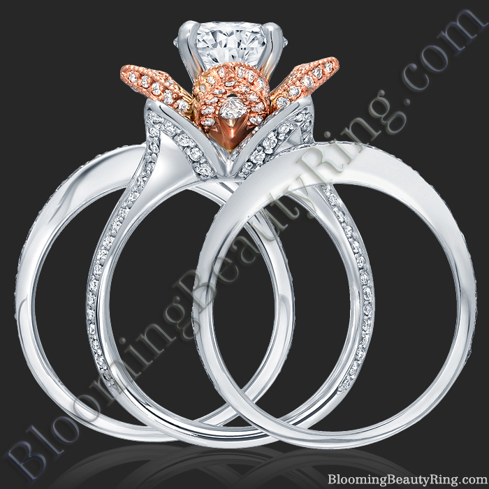 ON SALE 2 38 ctw Double Band White and Rose Gold Flower Ring Set