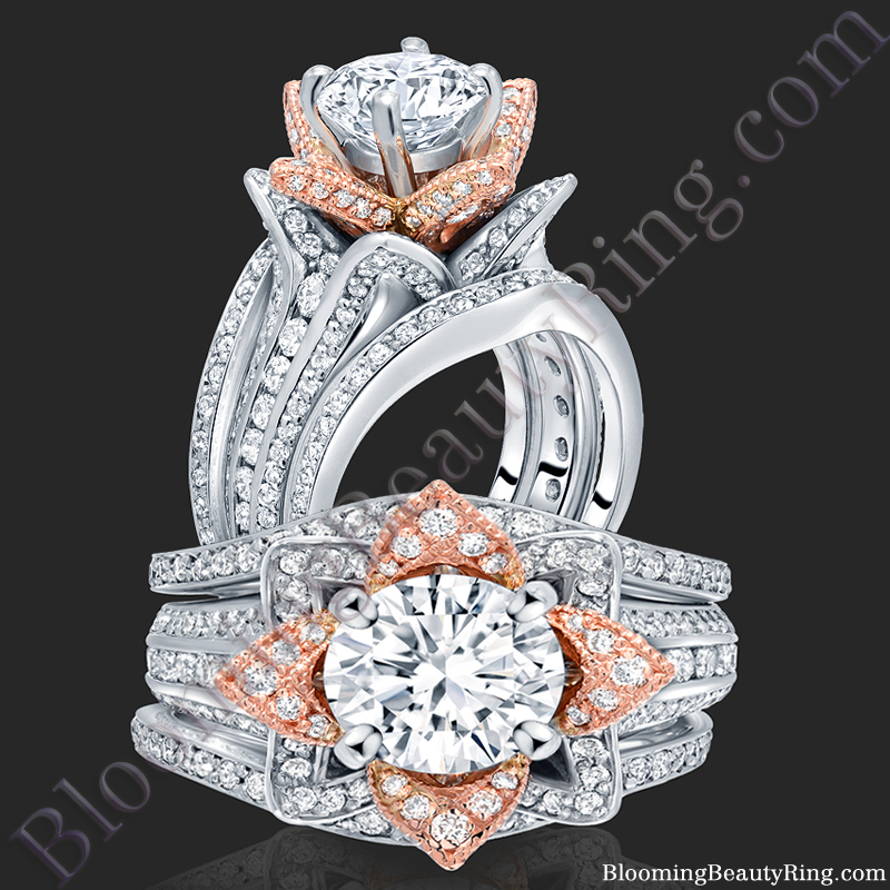 2 38 ctw Double Band Two Toned White and Rose Gold Flower Ring Set – bbr434t