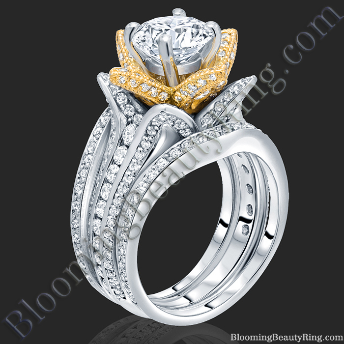 Double Band Two Toned White and Yellow Gold Flower Ring Set - bbr434ttyset