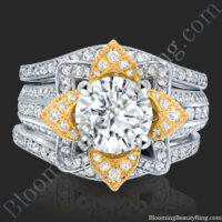 Double Wedding Band White and Yellow Gold Flower Engagement Ring Set