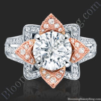 Two Toned Rose Gold and White Blooming Flower Ring