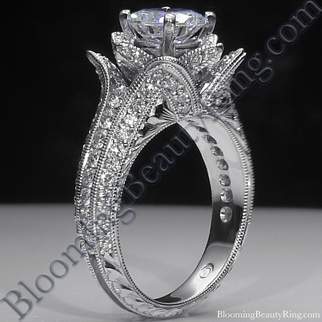 Small Hand Engraved Blooming Beauty Rose Engagement Ring 1