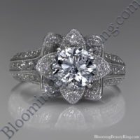 Small Hand Engraved Blooming Beauty Rose Engagement Ring 2
