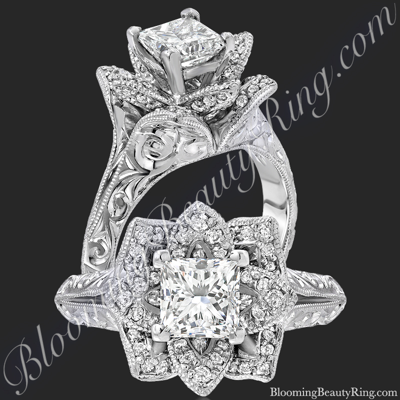 Hand Engraved 8 Petal .58 ct. Diamond Princess Lotus Flower Ring