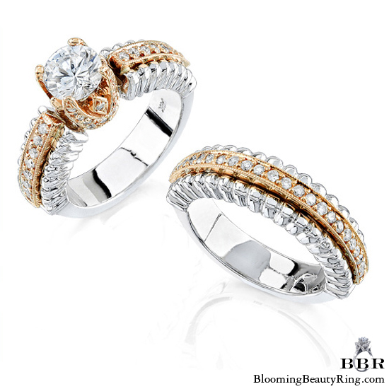 ... White And Rose Gold Unique Diamond Engagement Ring Set ...