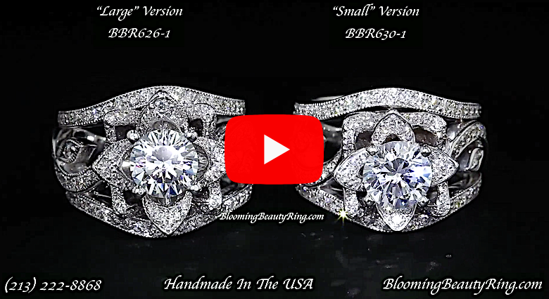 The Large Lotus Swan Double Band Flower Ring Set – bbr626-1 large and small video