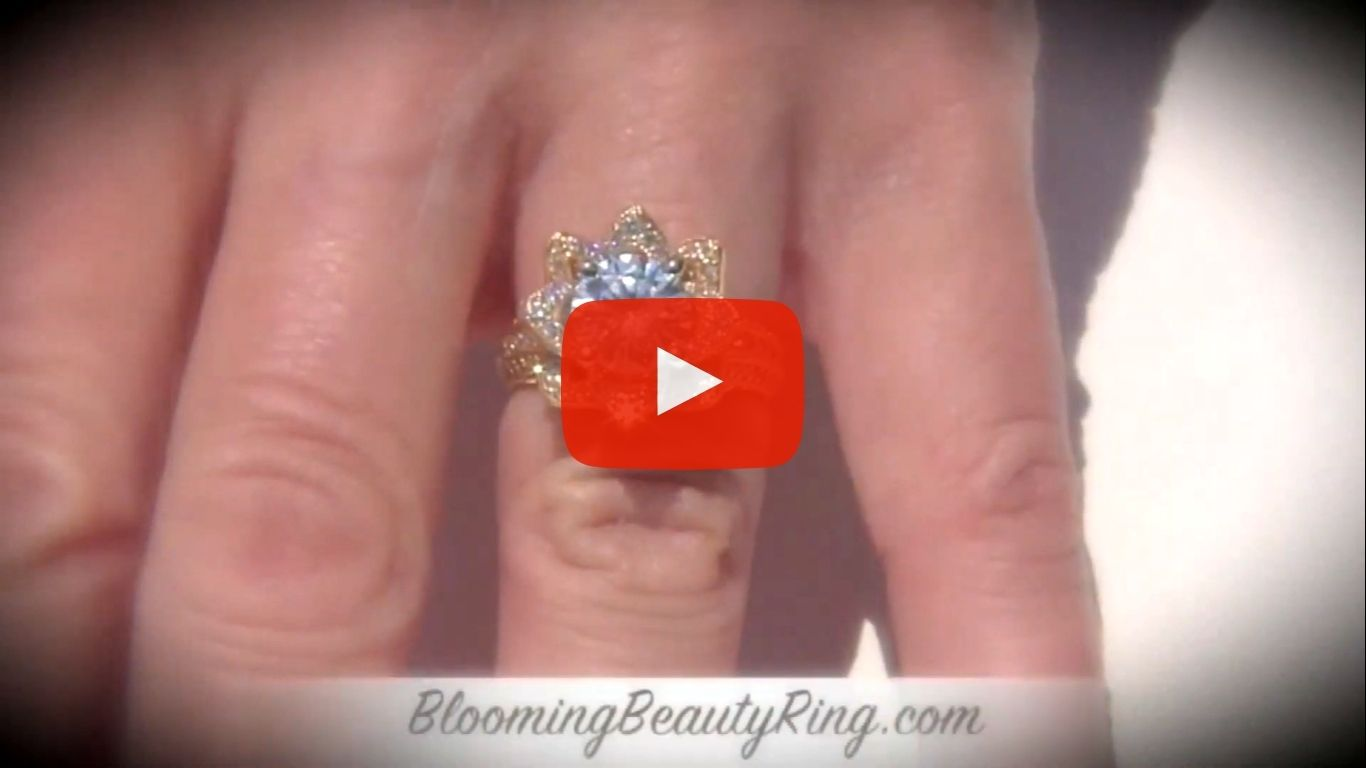 1.78ctw Yellow Gold Large Hand Engraved Blooming Beauty Flower Diamond Engagement Ring – bbr434ygen on the finger video