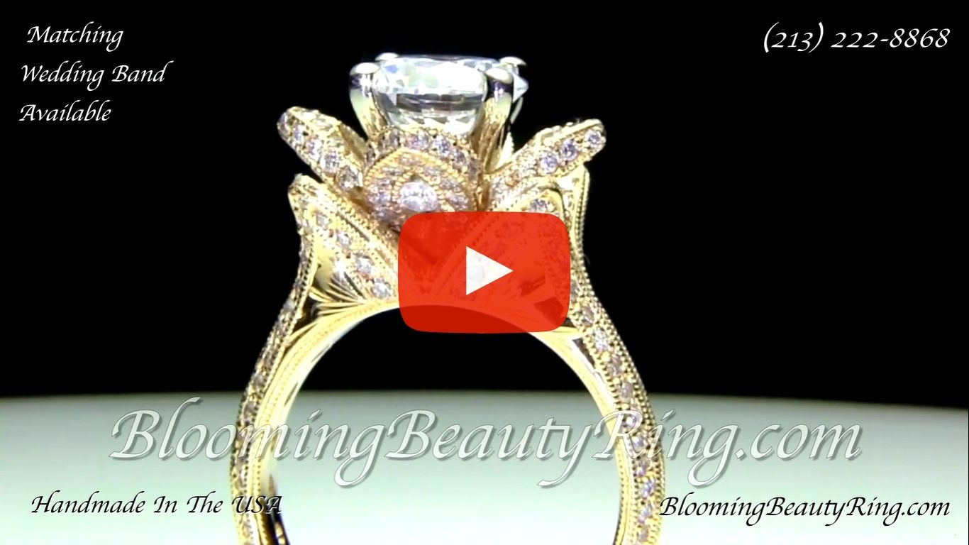 1.78ctw Yellow Gold Large Hand Engraved Blooming Beauty Flower Diamond Engagement Ring – bbr434ygen standing up video