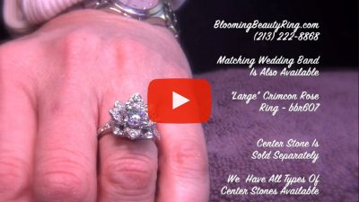 The Large Crimson Rose Flower Diamond Engagement Ring – bbr607 on the finger video