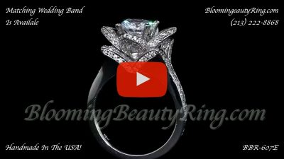 The Large Crimson Rose Flower Diamond Engagement Ring – bbr607 standing up video