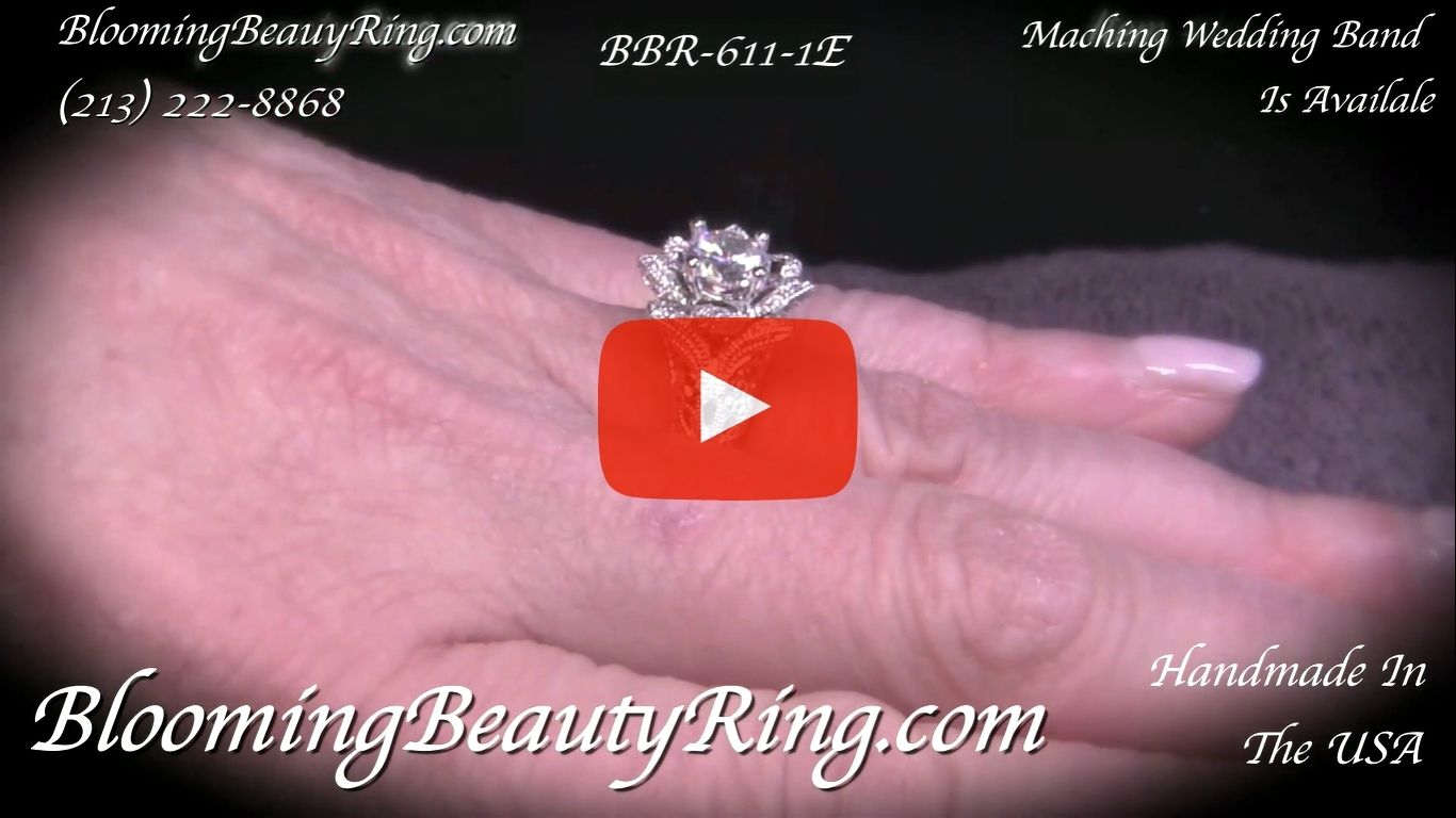 Diamond Embossed Blooming Rose Engagement Ring with Etched Carvings – bbr611-1 on the finger video