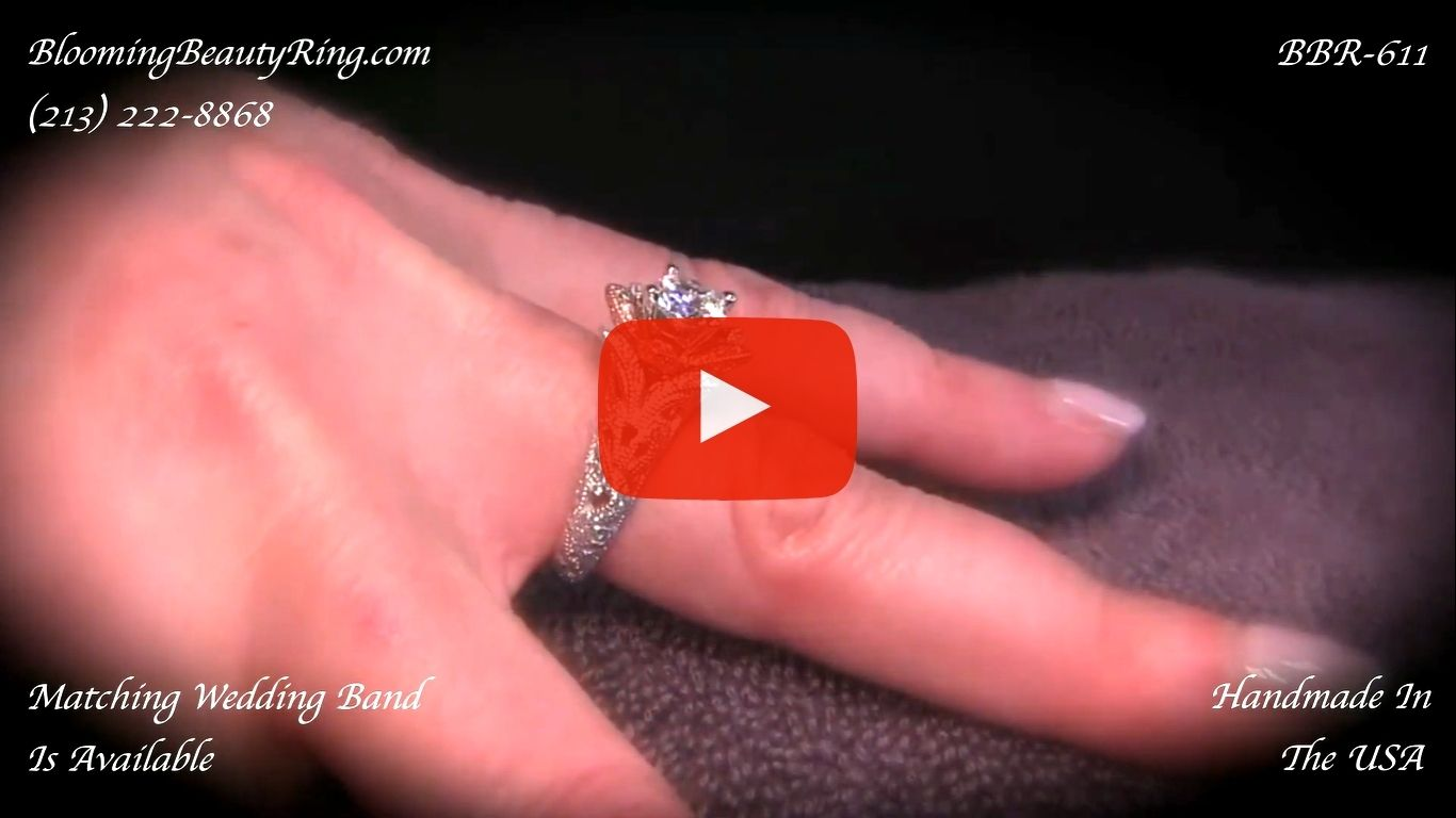 Art Carved Blooming Rose Flower Engagement Ring with Rose Gold Petals – bbr611 on the finger video